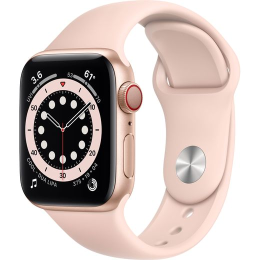 Apple Watch Series 6, 40mm, GPS + Cellular [2020] - Gold Aluminium Case with Pink Sand Sport Band