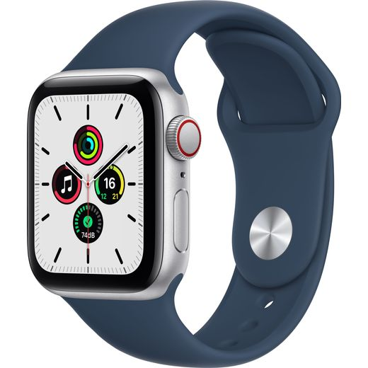 Apple Watch SE, 40mm, GPS + Cellular [2021] - Silver Aluminium Case with Abyss Blue Sport Band
