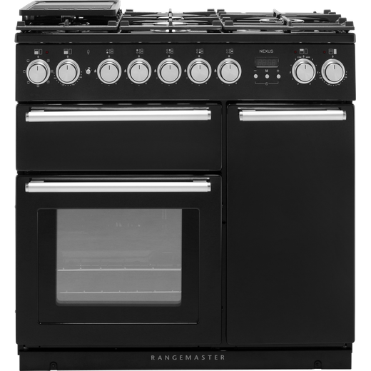 Rangemaster Nexus NEX90DFFBL/C 90cm Dual Fuel Range Cooker - Black - A/A Rated