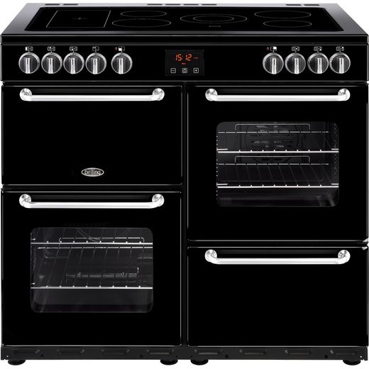 Belling SANDRINGHAM100E 100cm Electric Range Cooker with Ceramic Hob - Black - A/A Rated