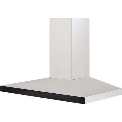 Elica CLAIRE-90 90 cm Chimney Cooker Hood - Stainless Steel / Black Glass - B Rated