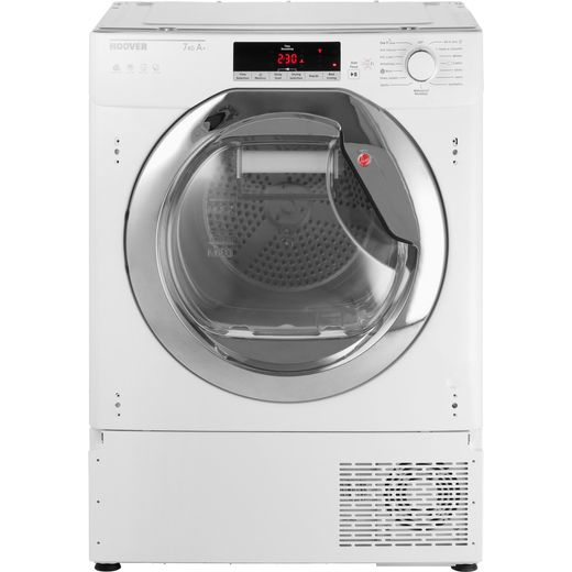 Hoover H-DRY 700 HTDBWH7A1TCE Integrated Wifi Connected 7Kg Heat Pump Tumble Dryer - White / Chrome - A+ Rated