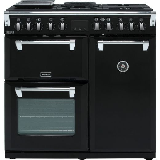 Stoves Richmond Deluxe S900DF 90cm Dual Fuel Range Cooker - Black - A/A/A Rated