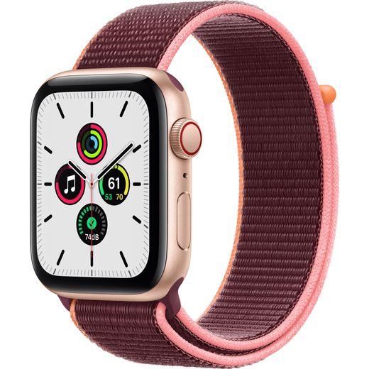 Apple Watch SE, 44mm, GPS + Cellular [2020] - Gold Aluminium Case with Plum Sport Loop