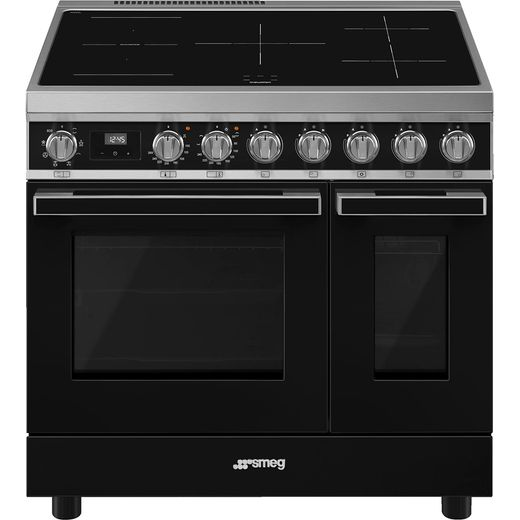 Smeg Portofino CPF92IMBL Electric Range Cooker with Zone induction Hob - Black - A Rated