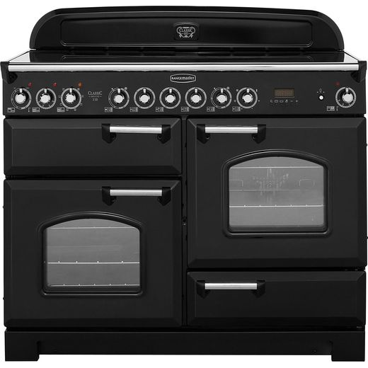 Rangemaster Classic Deluxe CDL110ECBL/C 110cm Electric Range Cooker with Ceramic Hob - Black / Chrome - A/A Rated