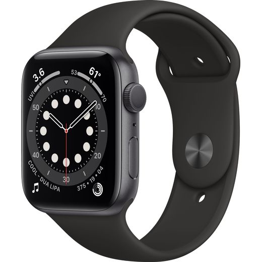 Apple Watch Series 6, 44mm, GPS [2020] - Space Grey Aluminium Case with Black Sport Band