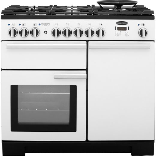 Rangemaster Professional Deluxe PDL100DFFWH/C 100cm Dual Fuel Range Cooker - White - A/A Rated