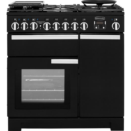 Rangemaster Professional Deluxe PDL90DFFGB/C 90cm Dual Fuel Range Cooker - Black - A/A Rated