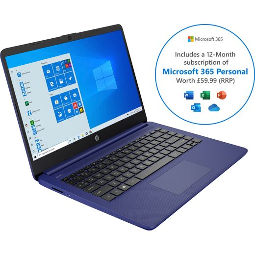 """HP Stream 14s-fq0022na 14"""" Includes Microsoft 365 Personal 12-month subscription with 1TB Cloud Storage Laptop - Blue"""