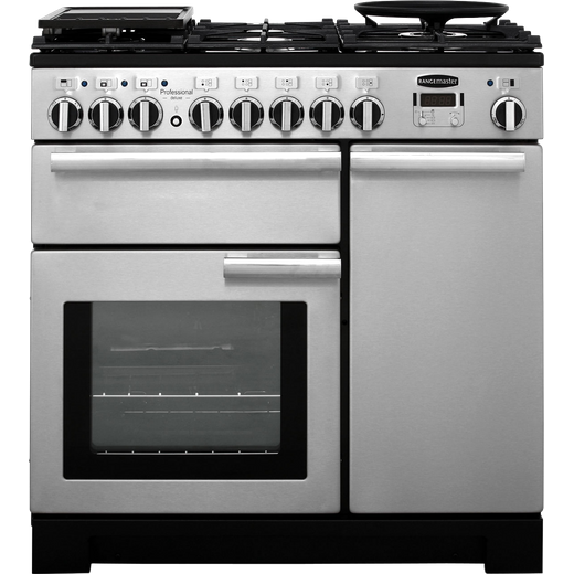 Rangemaster Professional Deluxe PDL90DFFSS/C 90cm Dual Fuel Range Cooker - Stainless Steel - A/A Rated