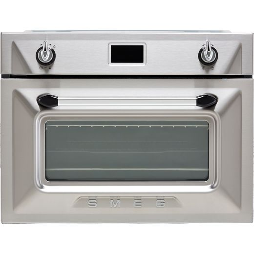 Smeg Victoria SF4920VCX1 Built In Compact Electric Single Oven with added Steam Function - Silver - A+ Rated