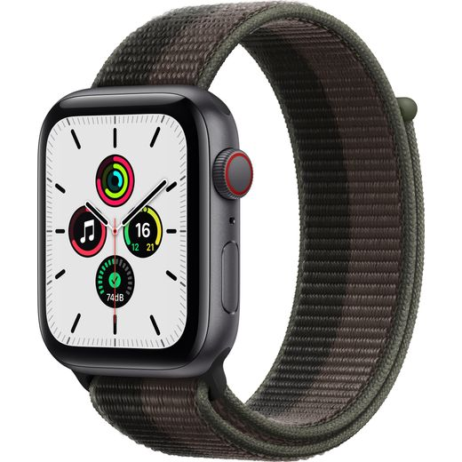 Apple Watch SE, 44mm, GPS + Cellular [2021] - Space Grey Aluminium Case with Tornado/Grey Sport Loop