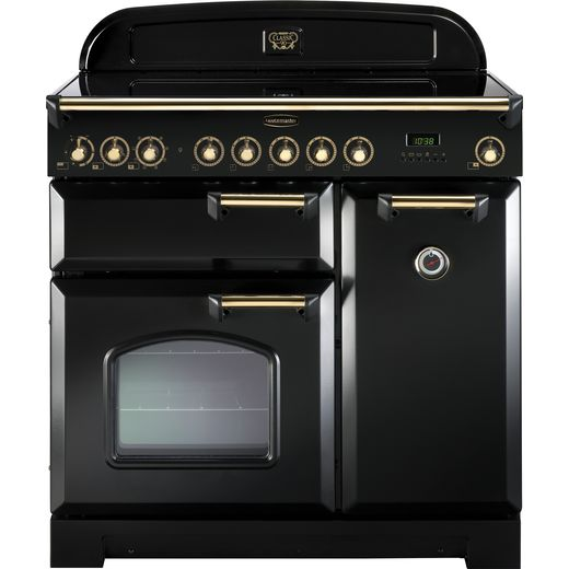 Rangemaster Classic Deluxe CDL90EIBL/B 90cm Electric Range Cooker with Induction Hob - Black / Brass - A/A Rated