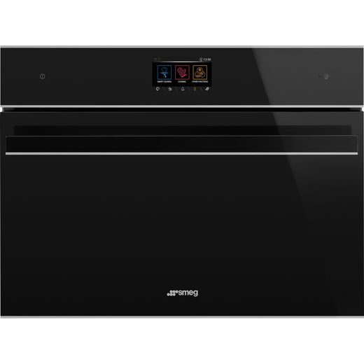 Smeg Dolce Stil Novo SF4604WMCNX Wifi Connected Built In Compact Electric Single Oven with Microwave Function - Black / Stainless Steel