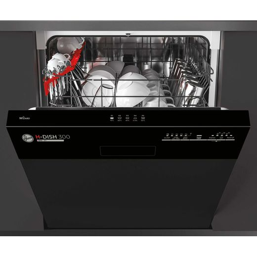 Hoover H-DISH 300 HDSN1L380PB Wifi Connected Semi Integrated Standard Dishwasher - Black Control Panel with Fixed Door Fixing Kit - F Rated