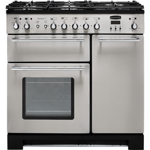 Rangemaster Toledo + TOLP90DFFSS/C 90cm Dual Fuel Range Cooker - Stainless Steel / Chrome - A/A Rated