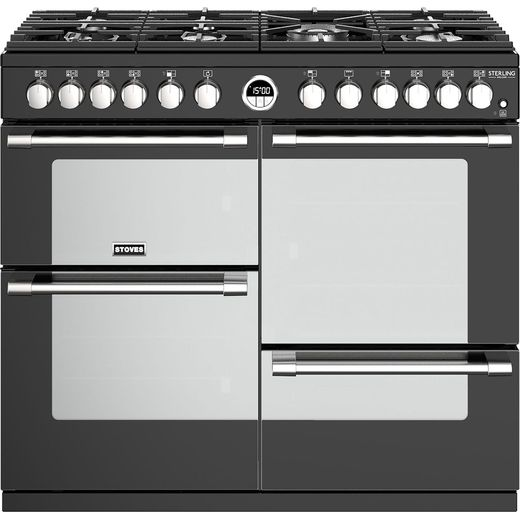 Stoves Sterling Deluxe S1000DF 100cm Dual Fuel Range Cooker - Black - A/A/A Rated