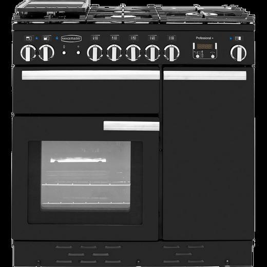 Rangemaster Professional Plus PROP90DFFGB/C 90cm Dual Fuel Range Cooker - Black / Chrome - A/A Rated