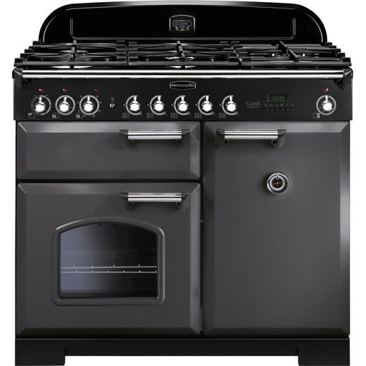 Rangemaster Classic Deluxe CDL100DFFSL/C 100cm Dual Fuel Range Cooker - Slate Grey / Chrome - A/A Rated