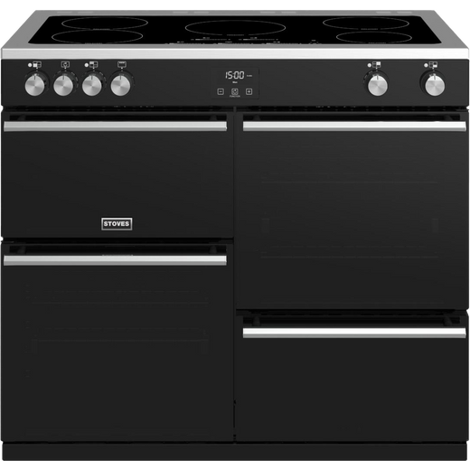 Stoves Precision DX S1000Ei 100cm Electric Range Cooker with Induction Hob - Black - A/A/A Rated