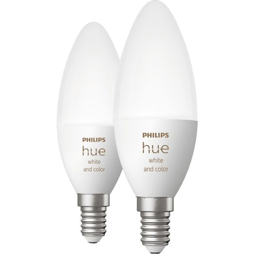Philips Hue White and Colour E14 Smart Bulb Twin Pack - A+ Rated