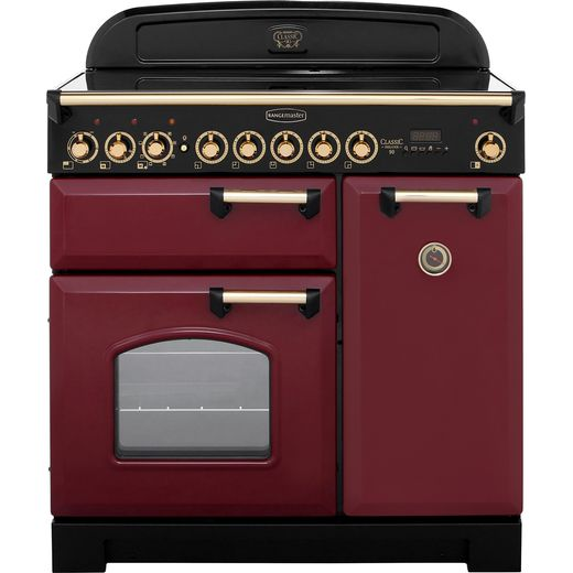 Rangemaster Classic Deluxe CDL90EICY/B 90cm Electric Range Cooker with Induction Hob - Cranberry / Brass - A/A Rated