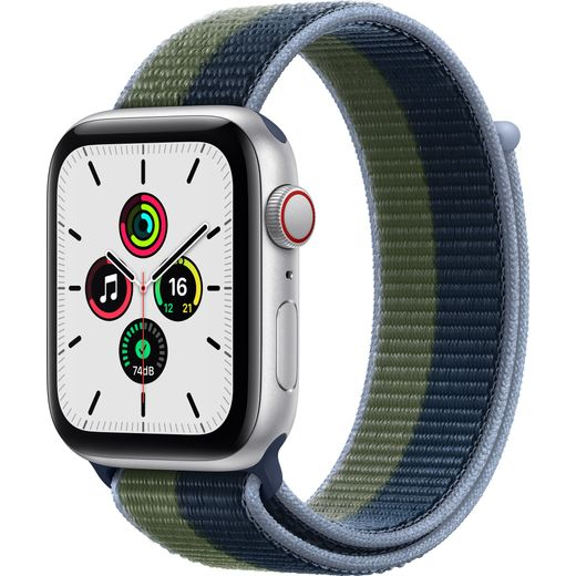 Apple Watch SE, 44mm, GPS + Cellular [2021] - Silver Aluminium Case with Abyss Blue/Moss Green Sport Loop