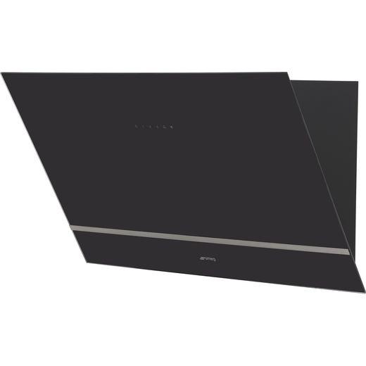 Smeg KV28N 80 cm Angled Chimney Cooker Hood - Black Glass - A Rated