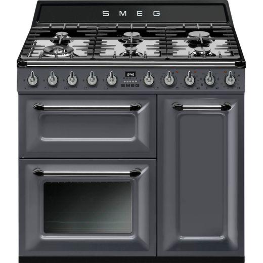 Smeg Victoria TR93GR 90cm Dual Fuel Range Cooker - Slate - A/B Rated