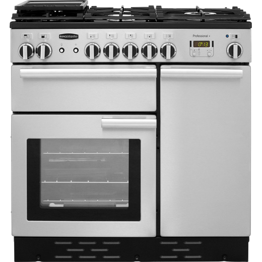 Rangemaster Professional Plus PROP90NGFSS/C 90cm Gas Range Cooker with Electric Fan Oven - Stainless Steel - A+/A Rated