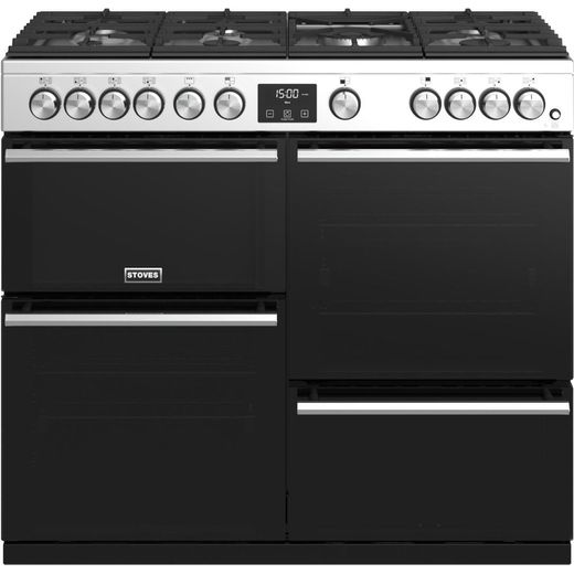 Stoves Precision DX S1000G 100cm Gas Range Cooker with Electric Grill - Stainless Steel - A/A/A+ Rated