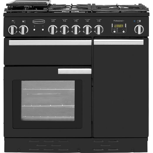 Rangemaster Professional Plus PROP90NGFGB/C 90cm Gas Range Cooker with Electric Fan Oven - Black - A+/A Rated