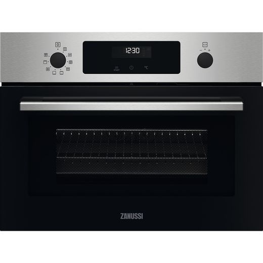 Zanussi ZVENM6X2 Built In Compact Electric Single Oven with Microwave Function - Stainless Steel