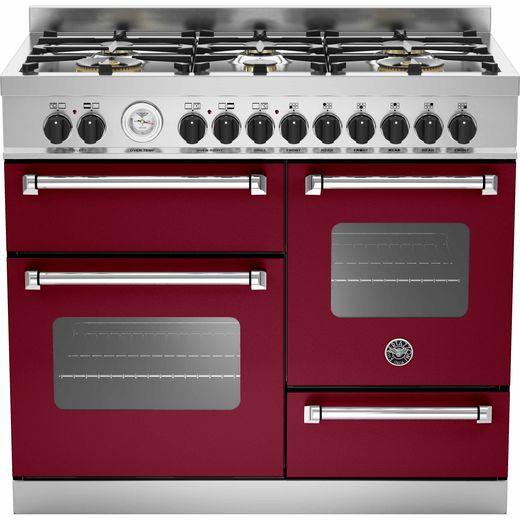 Bertazzoni Master Series MAS100-6-MFE-T-VIE 100cm Dual Fuel Range Cooker - Burgundy - A/A Rated
