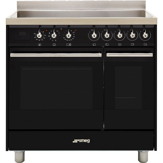 Smeg Classic C92IPBL9-1 90cm Electric Range Cooker with Induction Hob - Black - A/A Rated