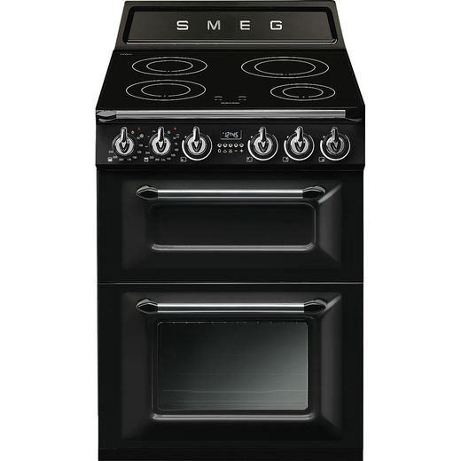 Smeg Victoria TR62IBL Electric Cooker with Induction Hob - Black - A/A Rated