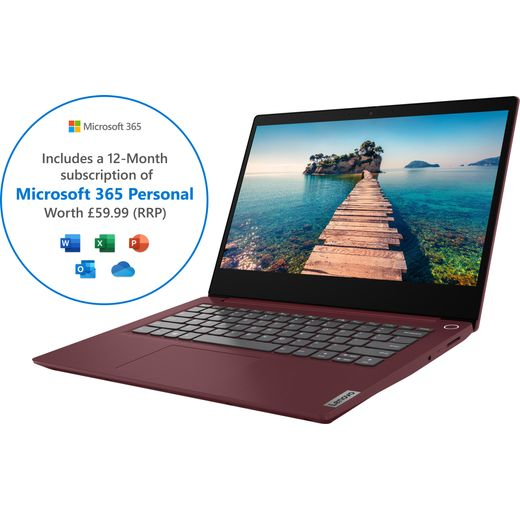 """Lenovo IdeaPad 3 14IIL05 14"""" Includes Microsoft 365 Personal 12-month subscription with 1TB Cloud Storage Laptop - Red"""