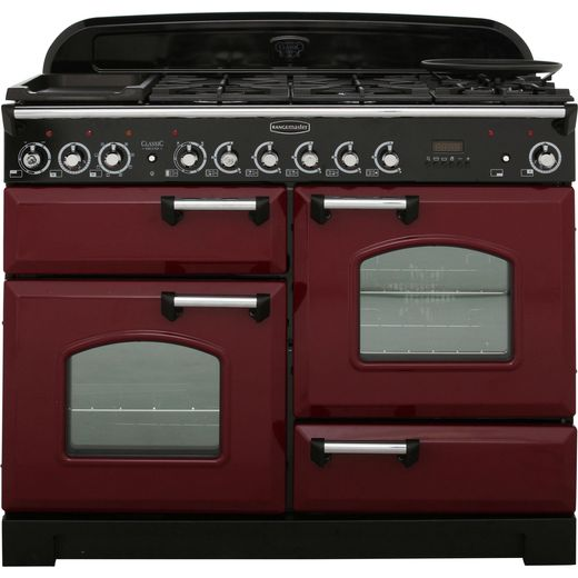 Rangemaster Classic Deluxe CDL110DFFCY/C 110cm Dual Fuel Range Cooker - Cranberry / Chrome - A/A Rated