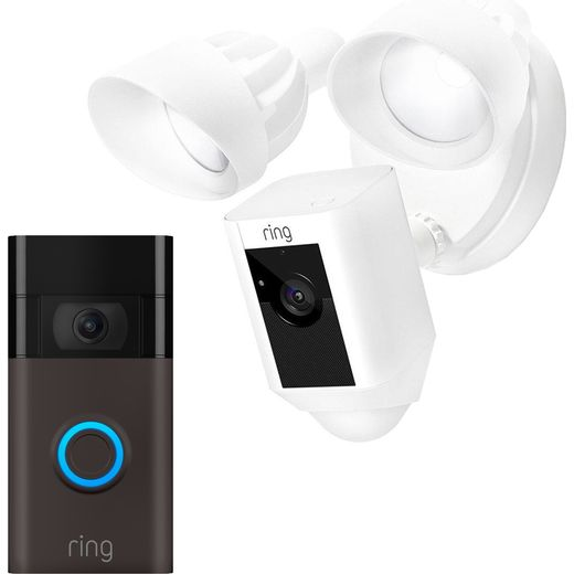 Ring Floodlight Cam Network Surveillance Cam Full HD 1080p with Video Doorbell - White