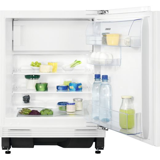 Zanussi ZEAN82FR Integrated Under Counter Fridge with Ice Box - Fixed Door Fixing Kit - White - A+ Rated