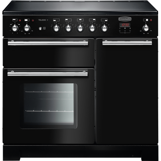 Rangemaster Toledo + TOLP90EIGB/C 90cm Electric Range Cooker with Induction Hob - Black - A/A Rated