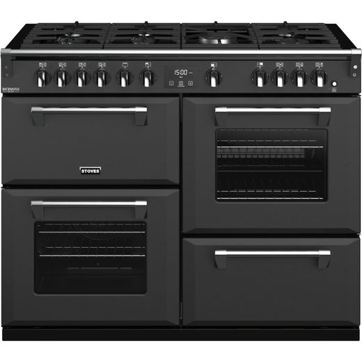 Stoves Colour Boutique Collection Richmond Deluxe S1100G CB 110cm Gas Range Cooker with Electric Grill - Anthracite - A Rated