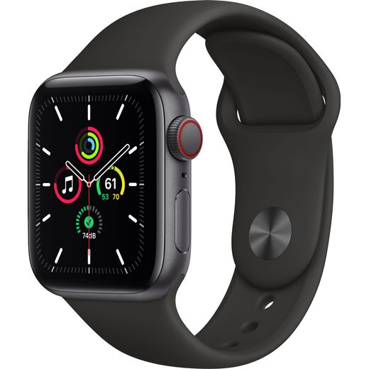 Apple Watch SE, 40mm, GPS + Cellular [2020] - Space Grey Aluminium Case with Black Sport Band
