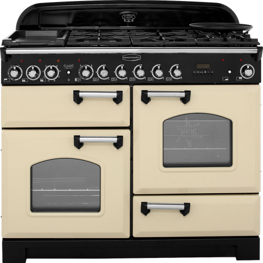 Rangemaster Classic Deluxe CDL110DFFCR/C 110cm Dual Fuel Range Cooker - Cream / Chrome - A/A Rated