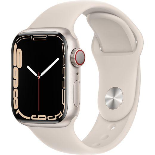 Apple Watch Series 7, 41mm, GPS + Cellular [2021] - Starlight Aluminium Case with Starlight Sport Band