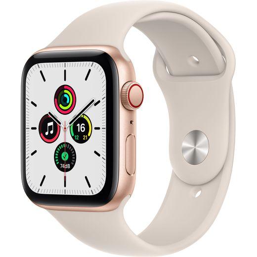 Apple Watch SE, 44mm, GPS + Cellular [2021] - Gold Aluminium Case with Starlight Sport Band