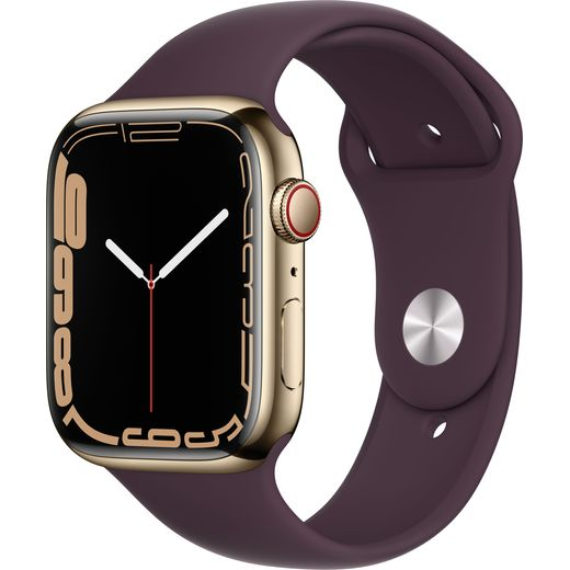 Apple Watch Series 7, 45mm, GPS + Cellular [2021] - Gold Stainless Steel Case with Dark Cherry Sport Band