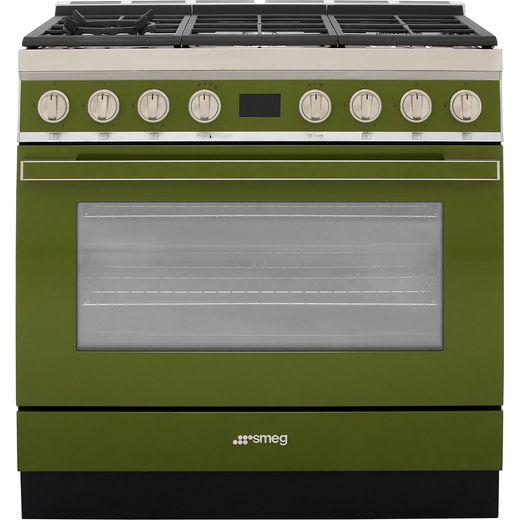 Smeg Portofino CPF9GPOG 90cm Dual Fuel Range Cooker - Olive Green - A+ Rated