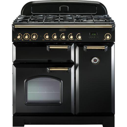 Rangemaster Classic Deluxe CDL90DFFBL/B 90cm Dual Fuel Range Cooker - Black / Brass - A/A Rated